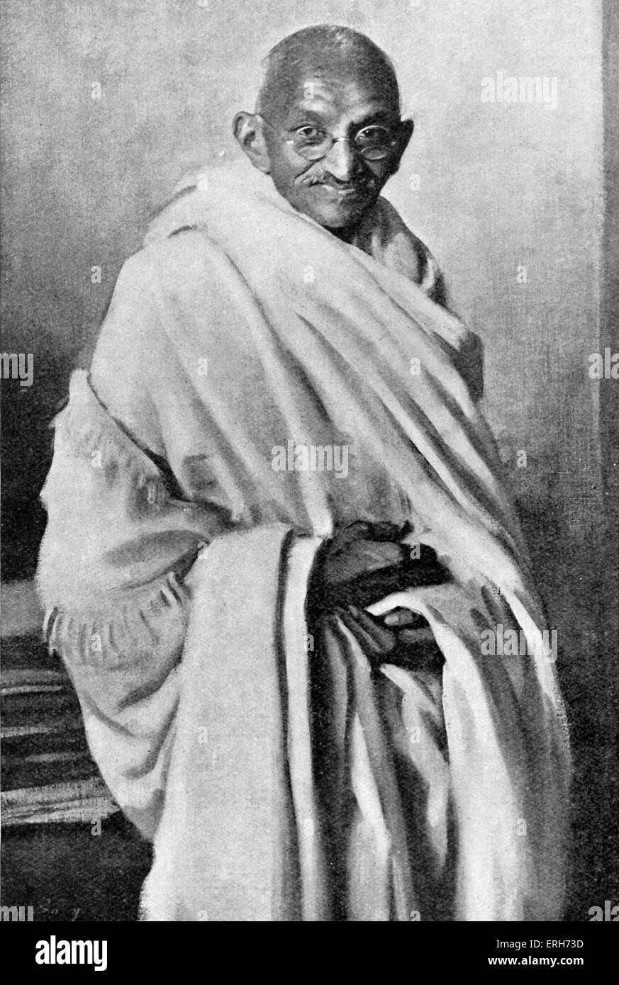 Mahatma Mohandas Karamchand Gandhi - I religiosi indiani righello e politico. 2 Ottobre 1869 - 30 gennaio 1948. Immagini Stock