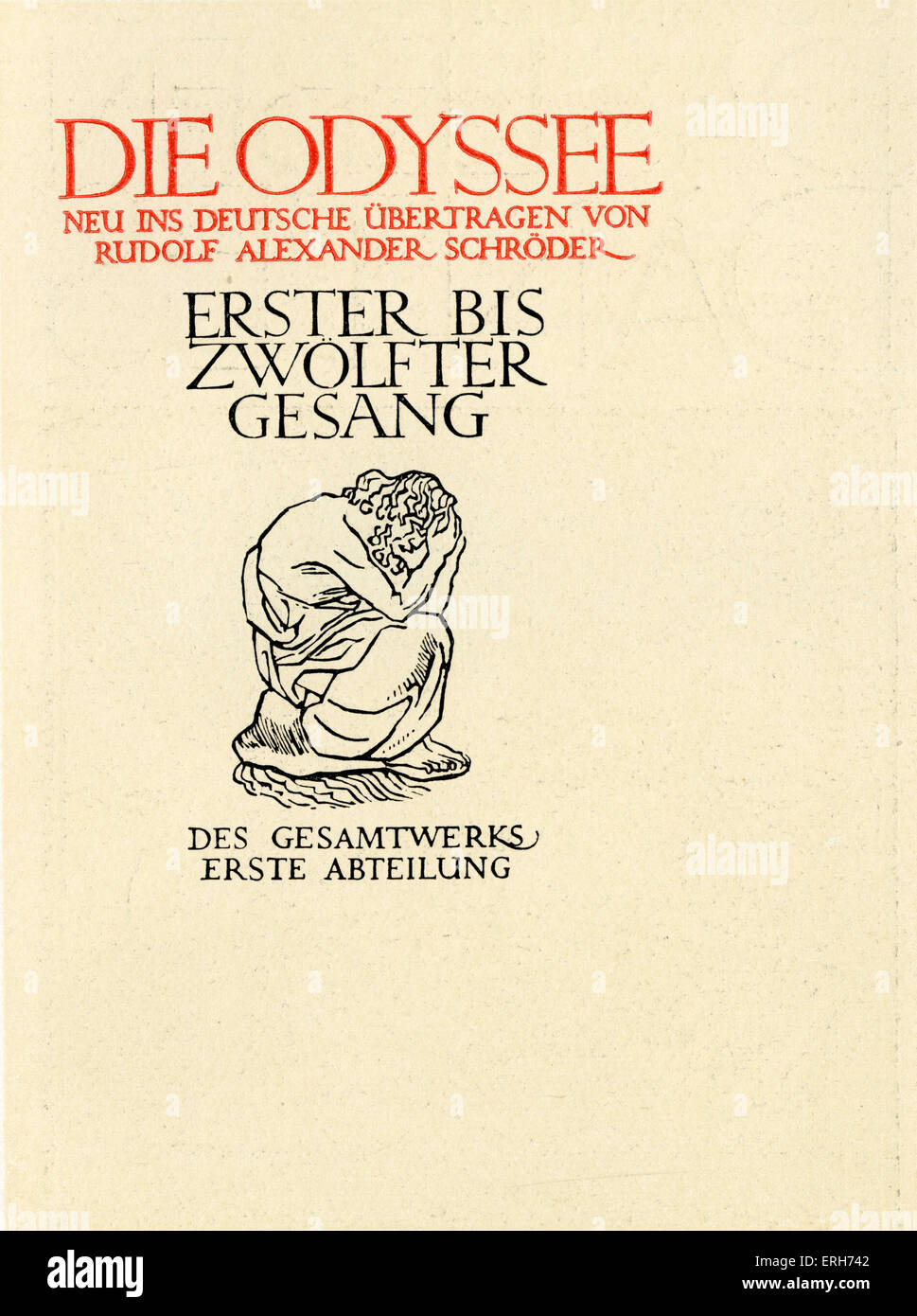 """Die Odyssee Volume I (Odyssey) nuova versione in tedesco da Rudolf Alexander Schröder. """"Erster bis zwolfter Immagini Stock"""