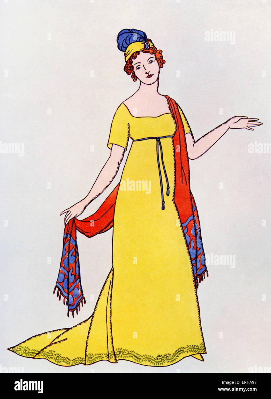 Signora in un abito impero, un abito da sera popolare c.1800, identificati mediante il cavo alta legato attorno Immagini Stock