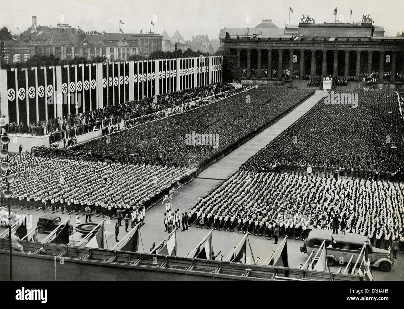Rally della gioventù tedesca sul Lustgarten, 1 agosto 1936, come parte della cerimonia di apertura per le 1936 Immagini Stock