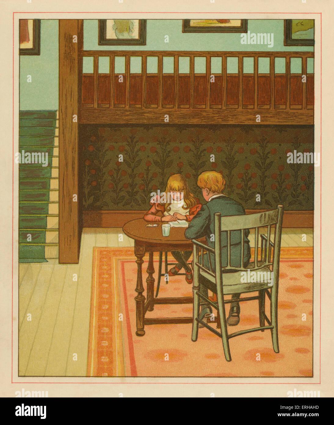 Victorian fratello e sorella di disegno, illustrazione di J.G. Sowerby.1881 Immagini Stock