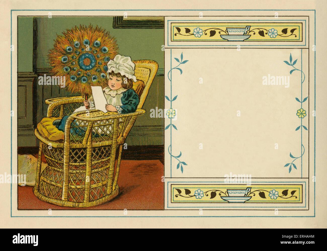 Bambino vittoriano lettura in cattedra, mantenendo la ventola costruito fuori di penne di pavone. illustrazione Immagini Stock