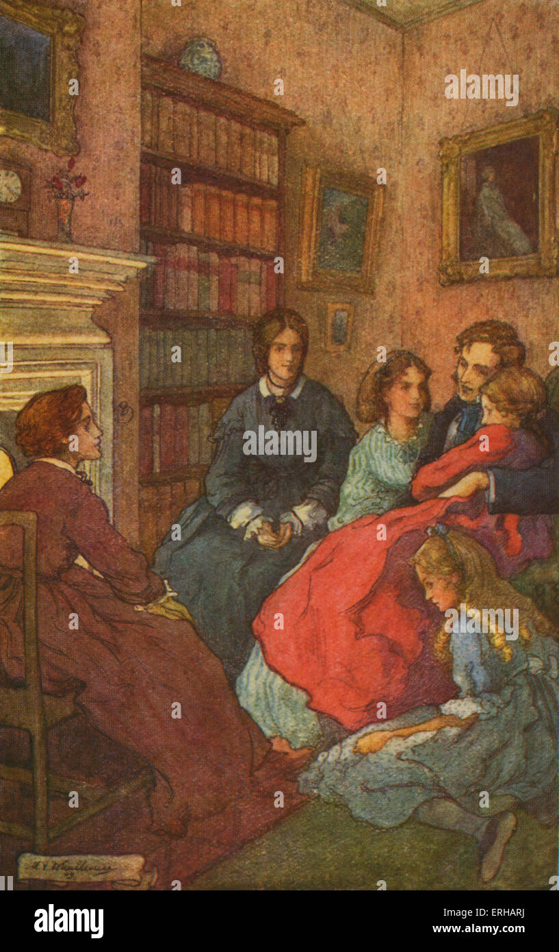 Piccole Donne di Louisa M Alcott. Illustrazioni di M V timoneria (1895-1933). La didascalia recita: Come twilight Immagini Stock