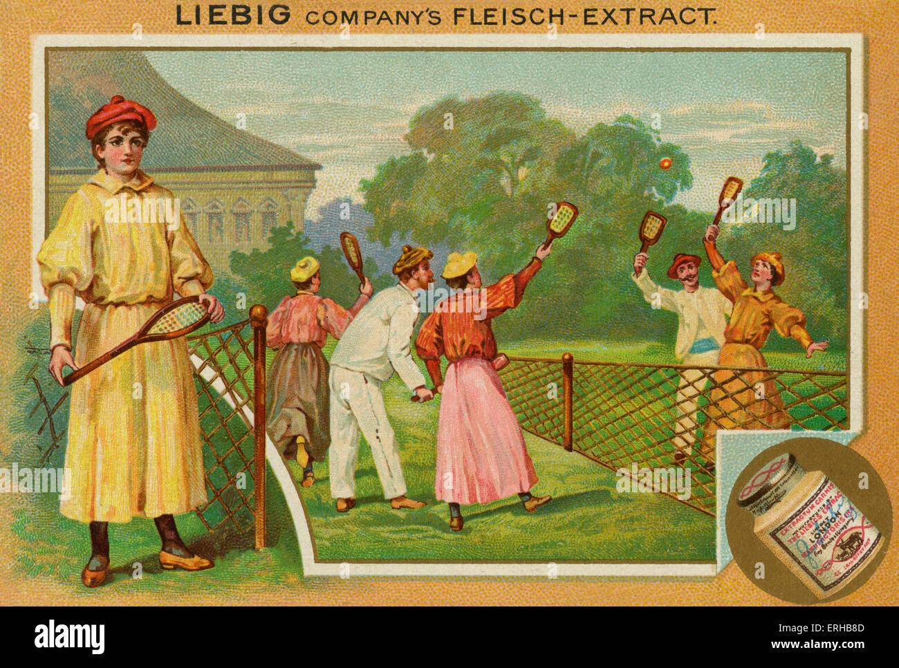 Una partita di tennis su prato. Scheda di Liebig, Sport, 1896. Immagini Stock