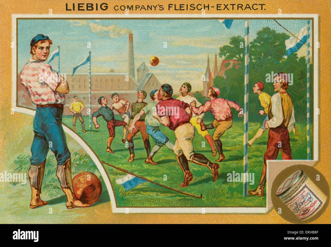Una partita di calcio. Scheda di Liebig, Sport, 1896. Immagini Stock