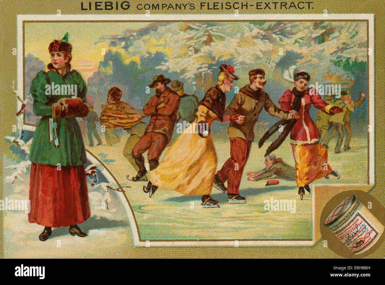 Pattinaggio sul ghiaccio su un lago ghiacciato . Scheda di Liebig, Sport, 1896. Immagini Stock