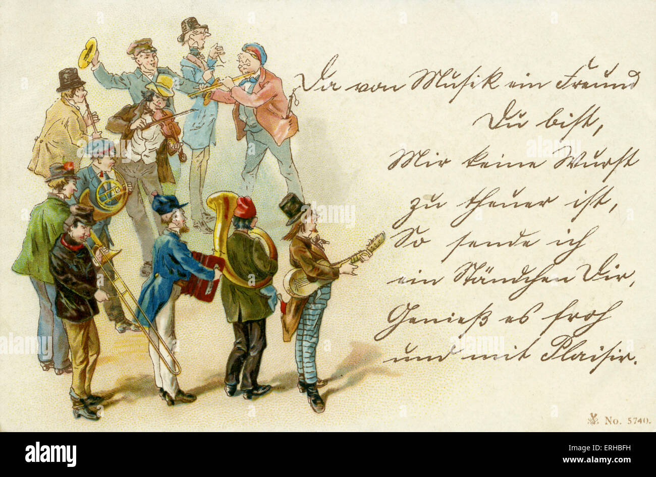 Central European folk band, eventualmente ceco: le corna, fisarmonica, chitarra, tubo, trombe, violino. Illustrazione Immagini Stock