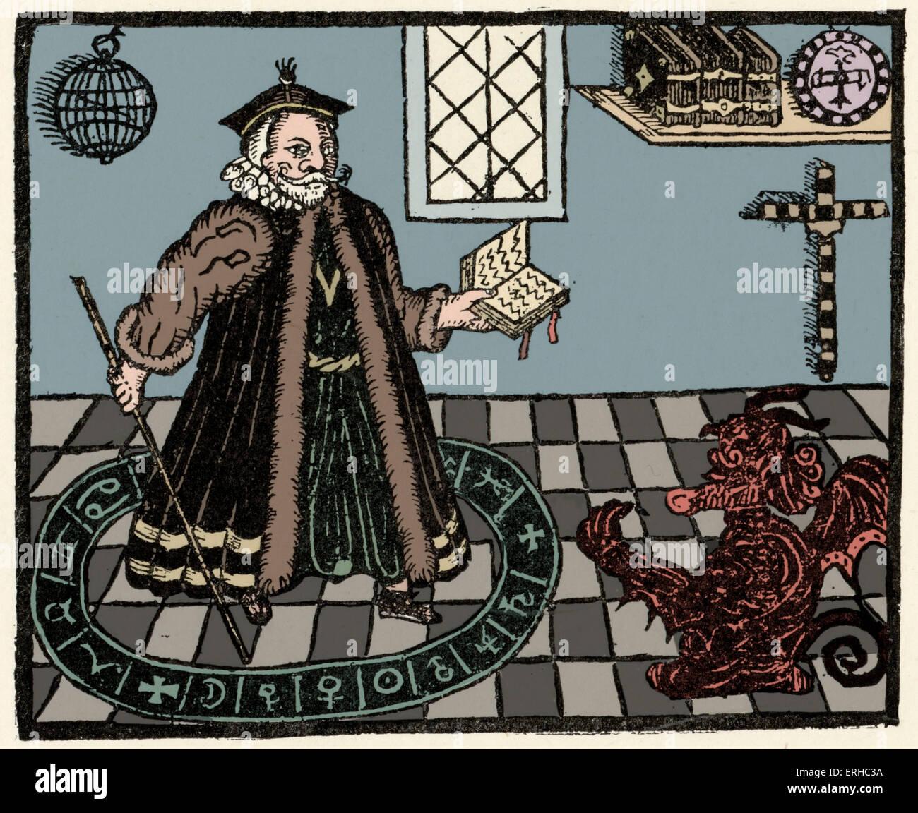 Xilografia di Faust / Faust e Mephistopheles pagina titolo di Christopher Marlowe 'l'Tragicall Historie Immagini Stock