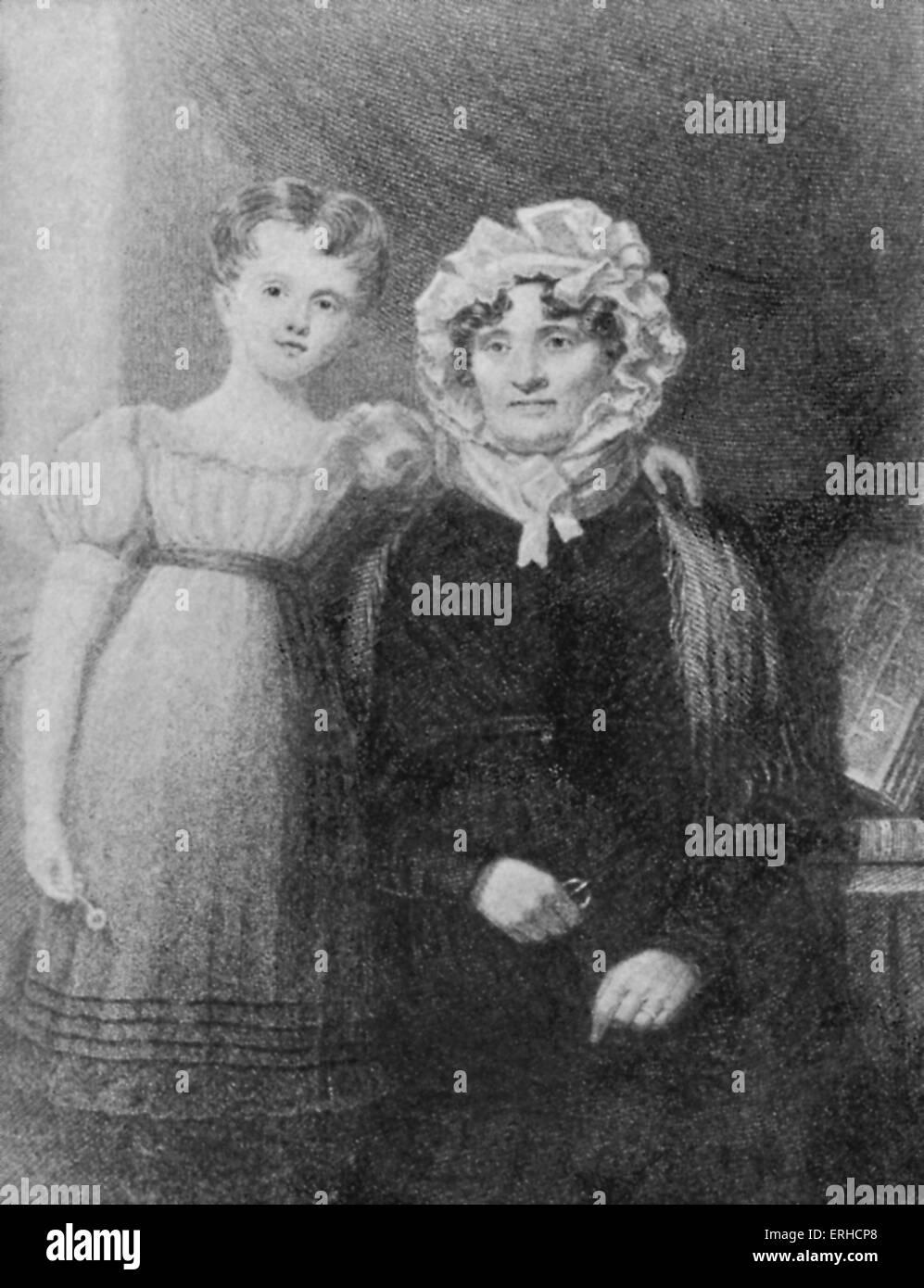 """Jean Armour con uno dei suoi nipoti. La moglie del poeta Scozzese Robert Burns, noto anche come """"Belle di Mauchline', Immagini Stock"""