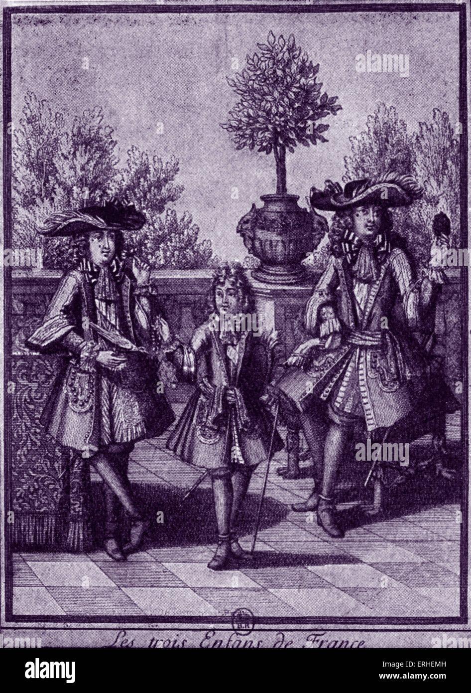 Tre nipoti di Louis XIV - allievi di Fenelon - Ritratto Duca d'Anjou - Duca de Berry - Duca de Bourgogne Immagini Stock