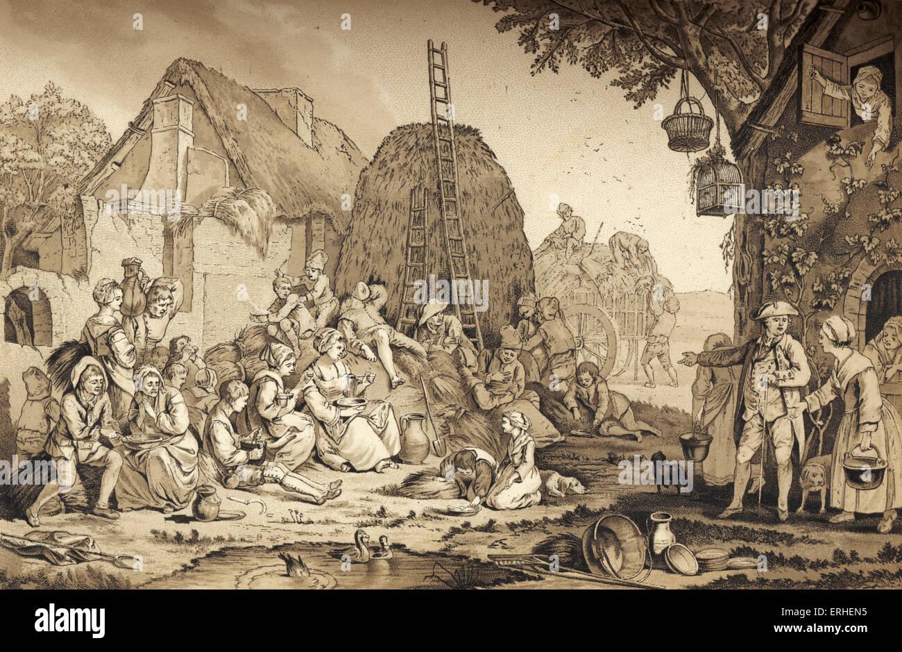 Haymakers aventi la loro il pranzo del XVIII secolo. Pastorale francese contadini. Idilliaco paesaggio. Immagini Stock