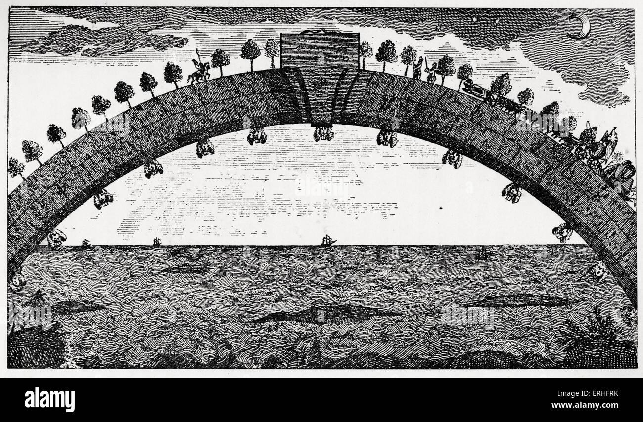 La sorprendente avventure del barone di Munchausen: : Il ponte dall'Africa verso la Gran Bretagna. Ponte ad arco abbraccia l'oceano per un semplice viaggio tra i due continenti. Rudolf Erich raspe (1737-1794) & Hieronymus Karl Friedrich, Baron (Freiherr) von Münchhausen (1720-1797) . Raspe fu il primo autore di trascrivere Munchausen's storie di guerra in un libro, che è stato successivamente ampliato da parte di altri scrittori. Illustrazione originale. Foto Stock