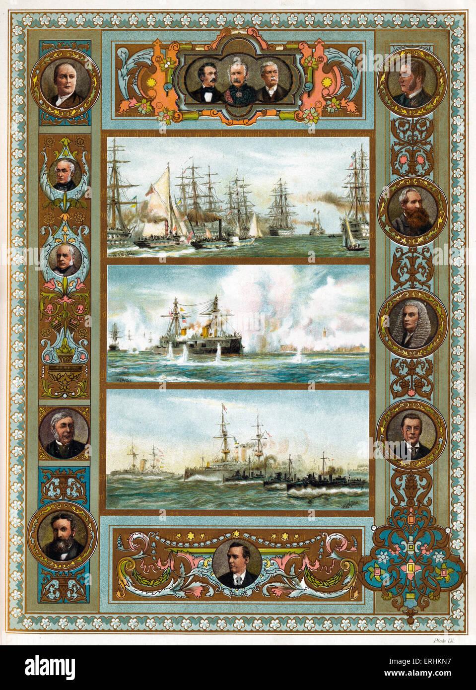 La marina militare in epoca vittoriana - Revisione navale a Spithead, 1855 (top), il bombardamento di Alessandria, Immagini Stock