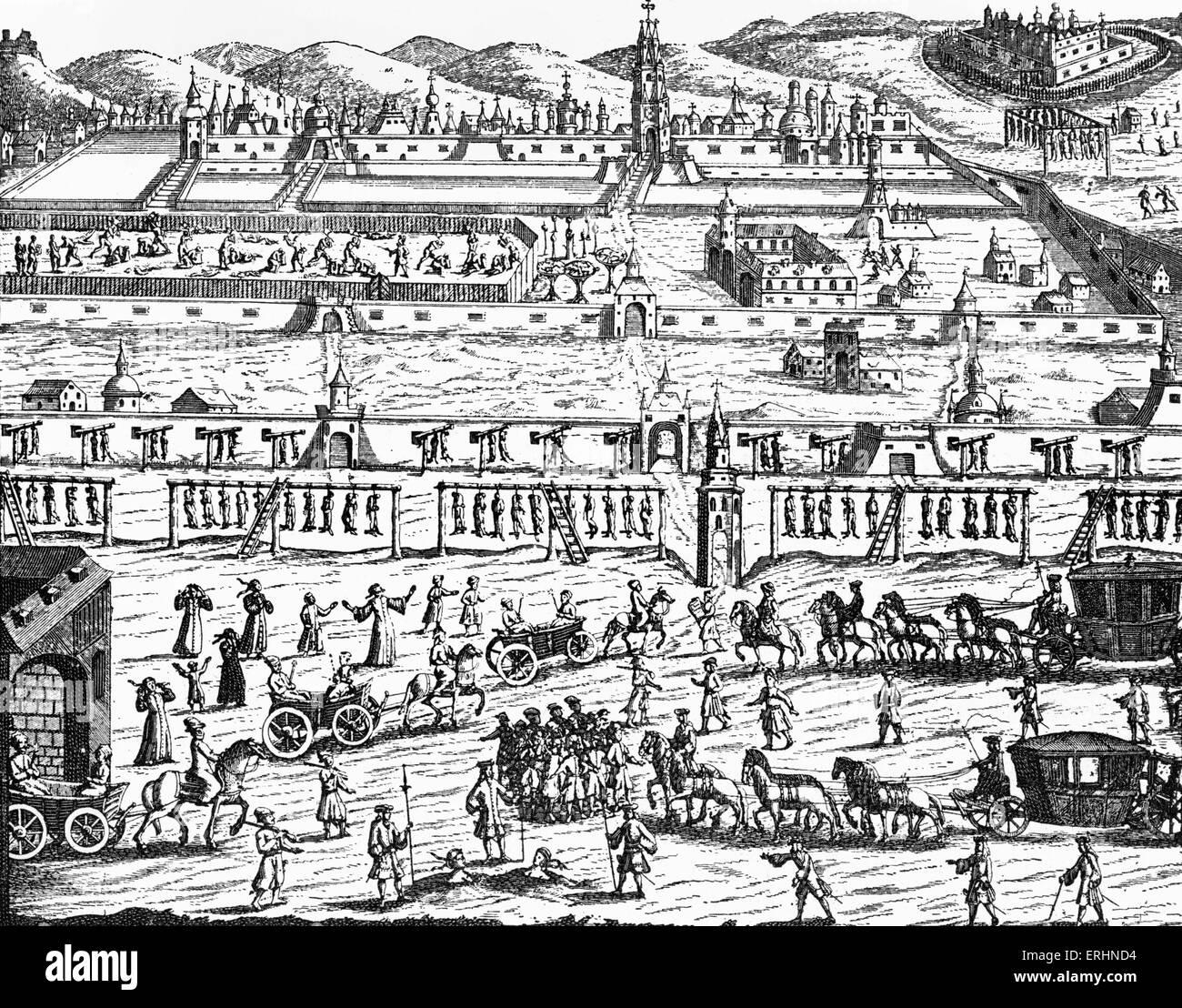 Esecuzione del Streltsy (noto anche come le truppe Strelets), Russia, 1699. Incisione di Korb, da 'Diarium itineris Immagini Stock