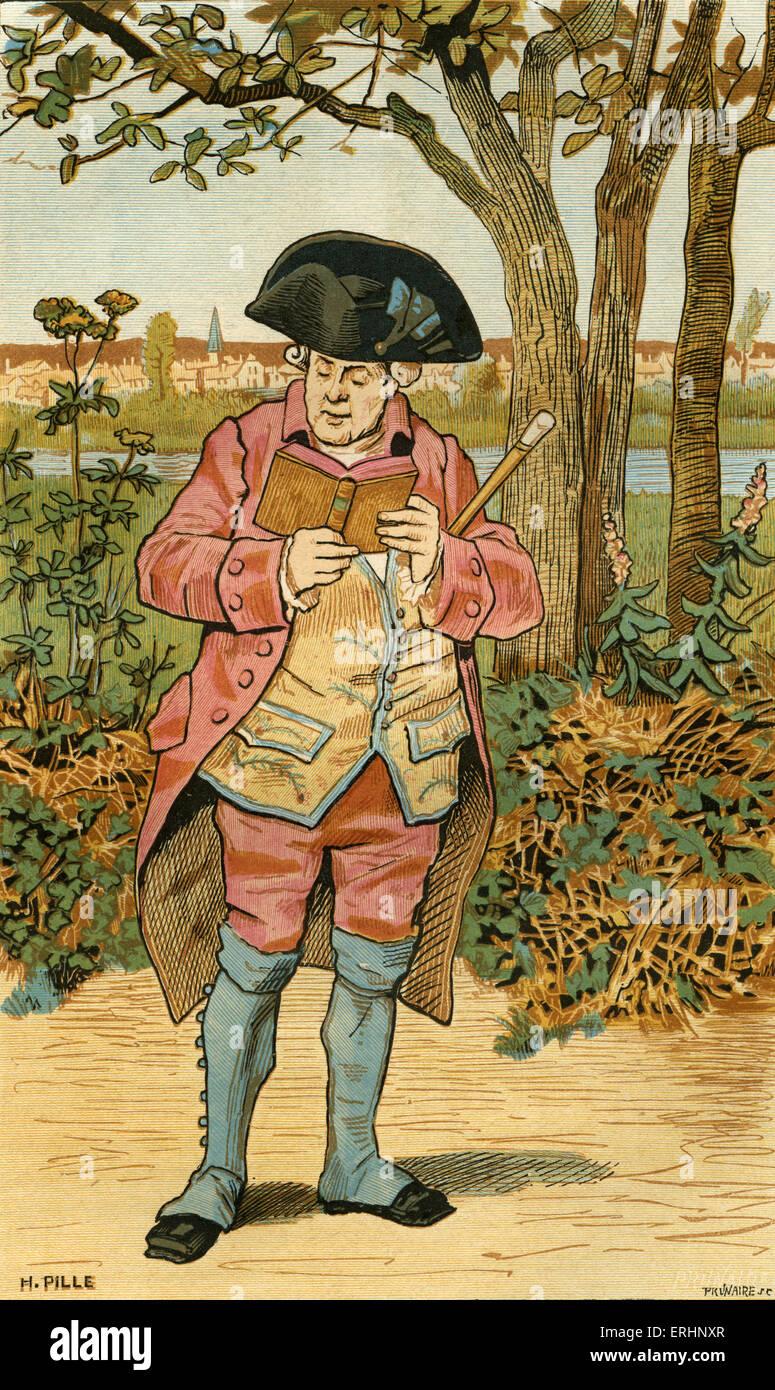 """"""" Il vecchio libro amante' Le Vieux bibliofilo di H. Pille. Uomo in piedi in campagna la lettura del libro. Immagini Stock"""
