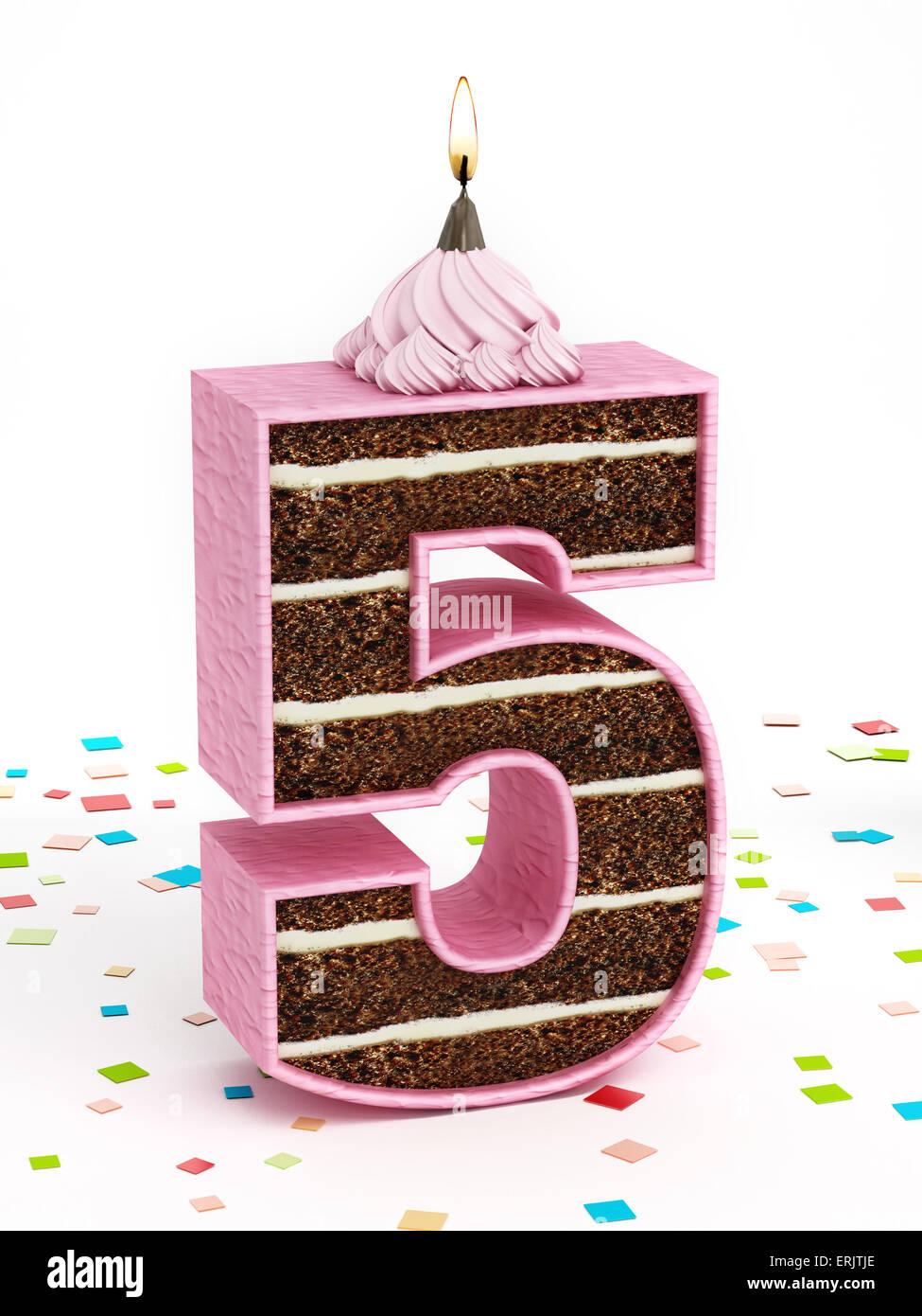 Il Numero 5 Al Cioccolato A Forma Di Torta Di Compleanno Con Candela