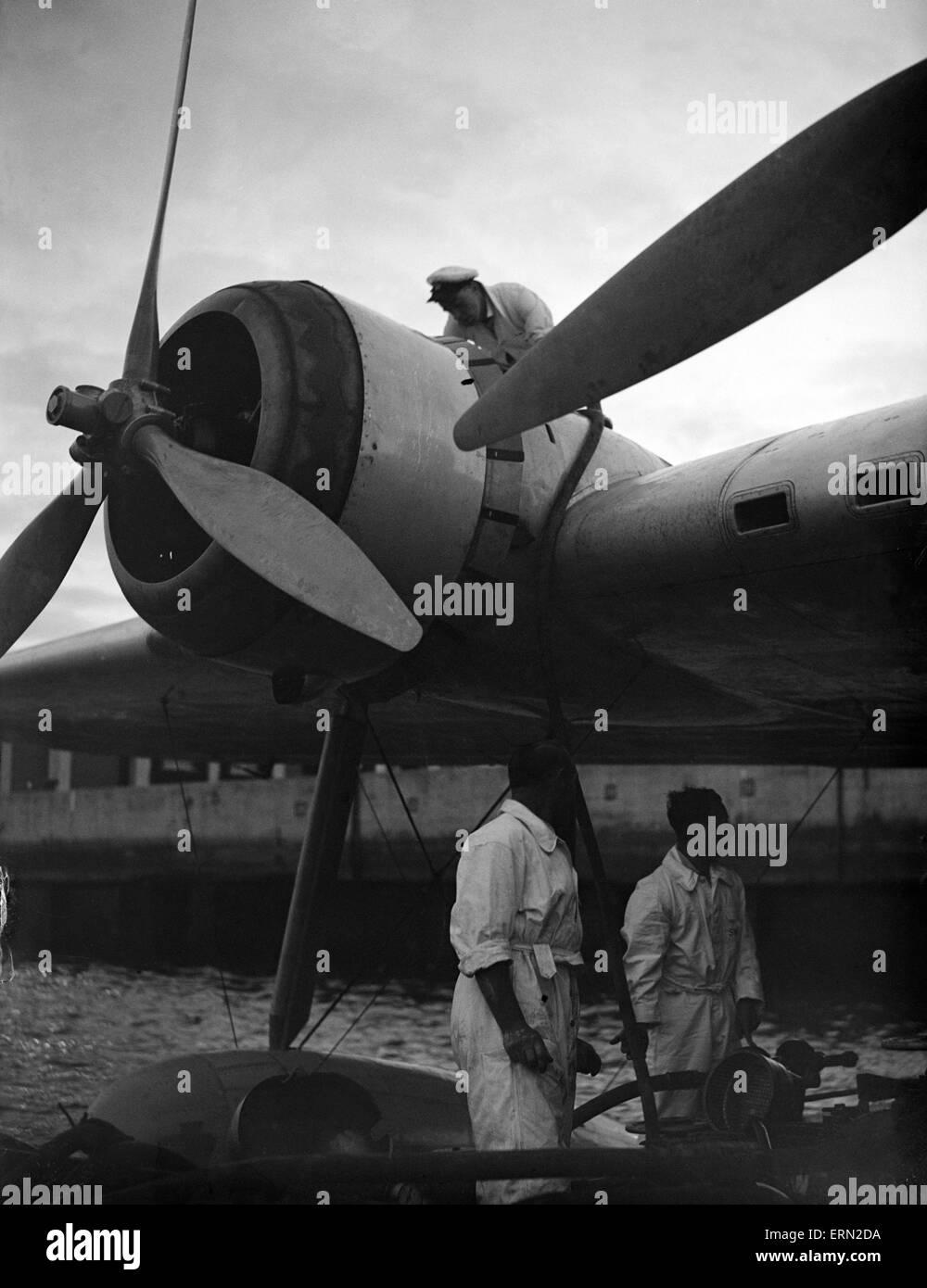 La serie di immagini per il Daily Herald includono volo per l'Australia. 26 giugno 1938 Imperial Airways personale Immagini Stock