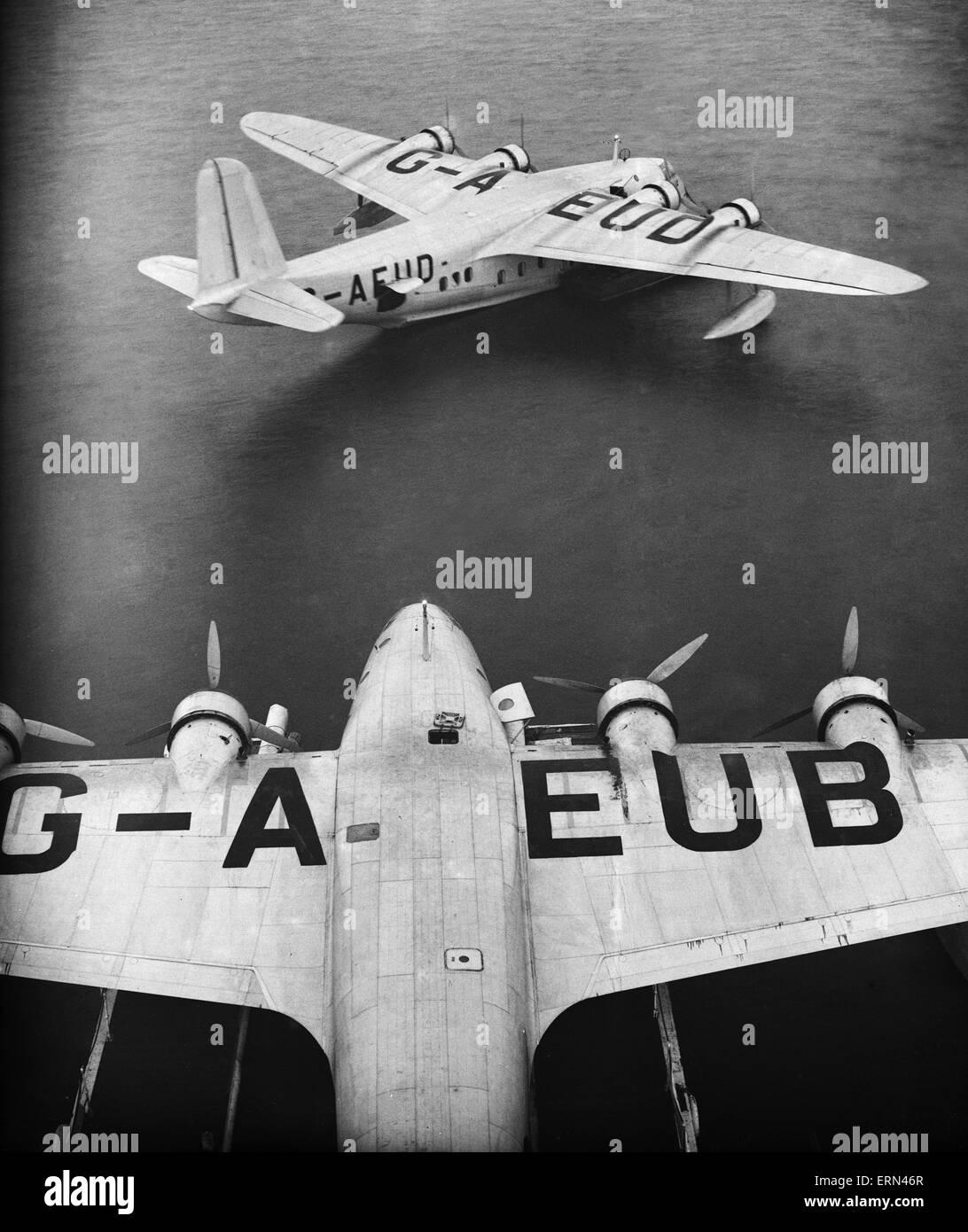 La serie di immagini per il Daily Herald includono volo per l'Australia. 26 giugno 1938 Imperial Airways Shorts Immagini Stock