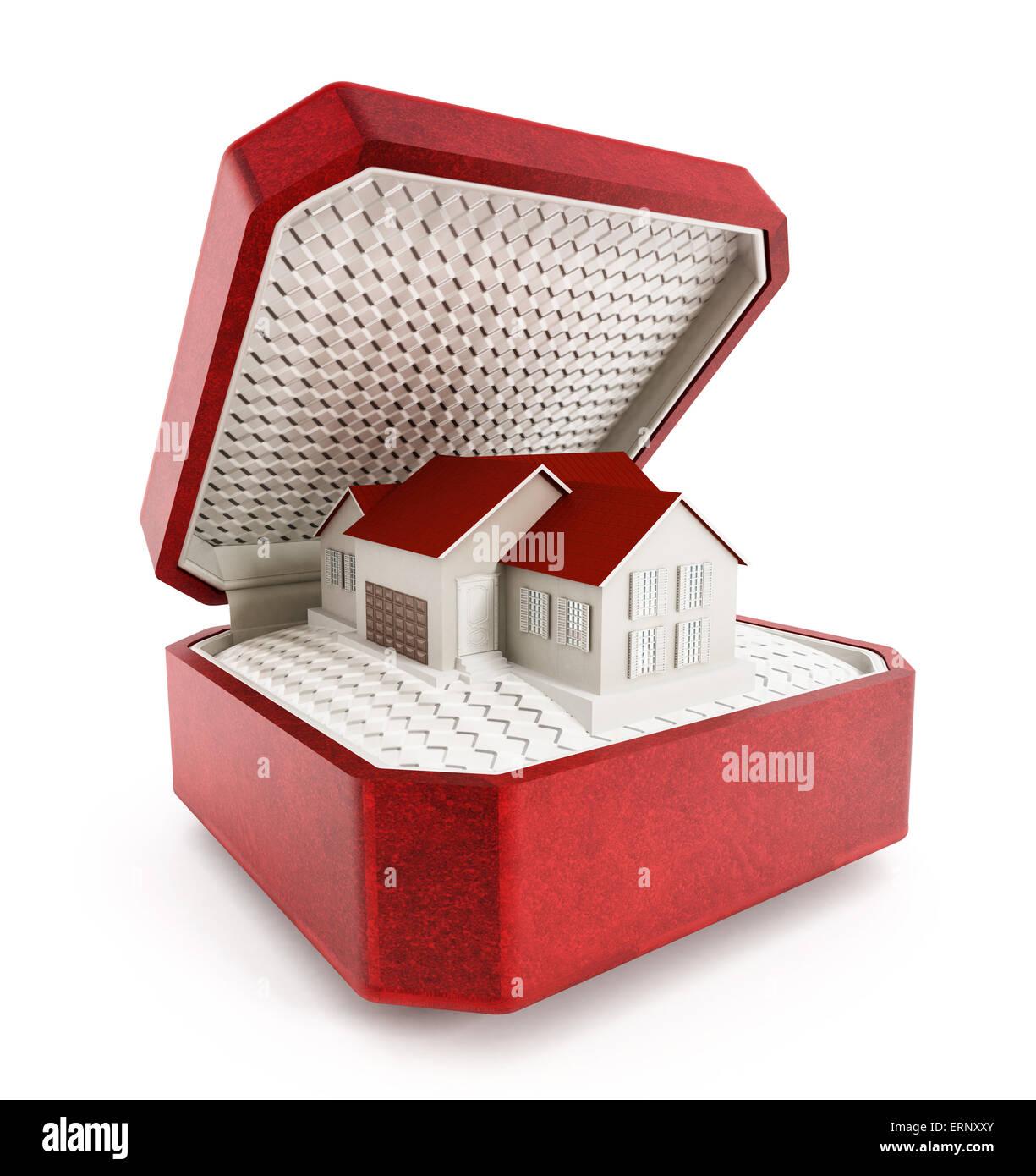 Casa in scatola isolata su sfondo bianco Immagini Stock