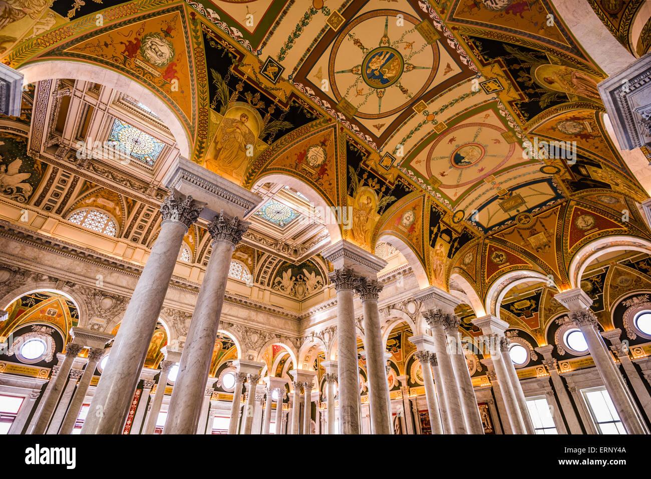 Hall di ingresso nel soffitto della Biblioteca del Congresso a Washington DC. Immagini Stock