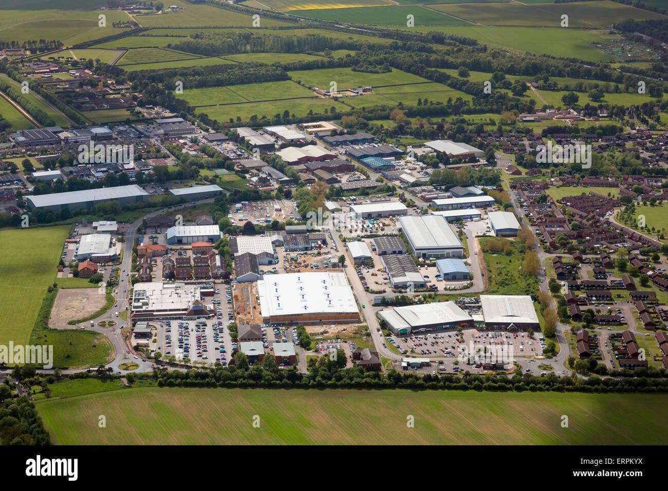 Foto aerea del Newmarket Business Park e Studlands Park Industrial Estate Immagini Stock