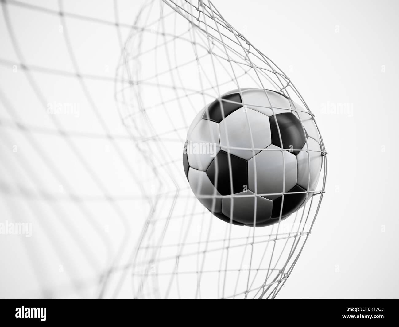 Pallone da calcio o calcio in rete isolata su sfondo bianco Immagini Stock