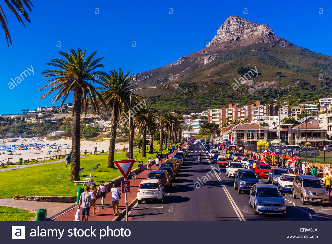 Camps Bay, Città del Capo, Sud Africa. Immagini Stock