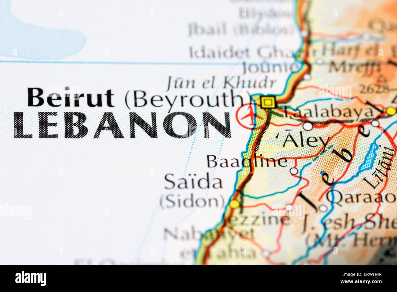 Close up mappa di Beirut e il Libano Immagini Stock