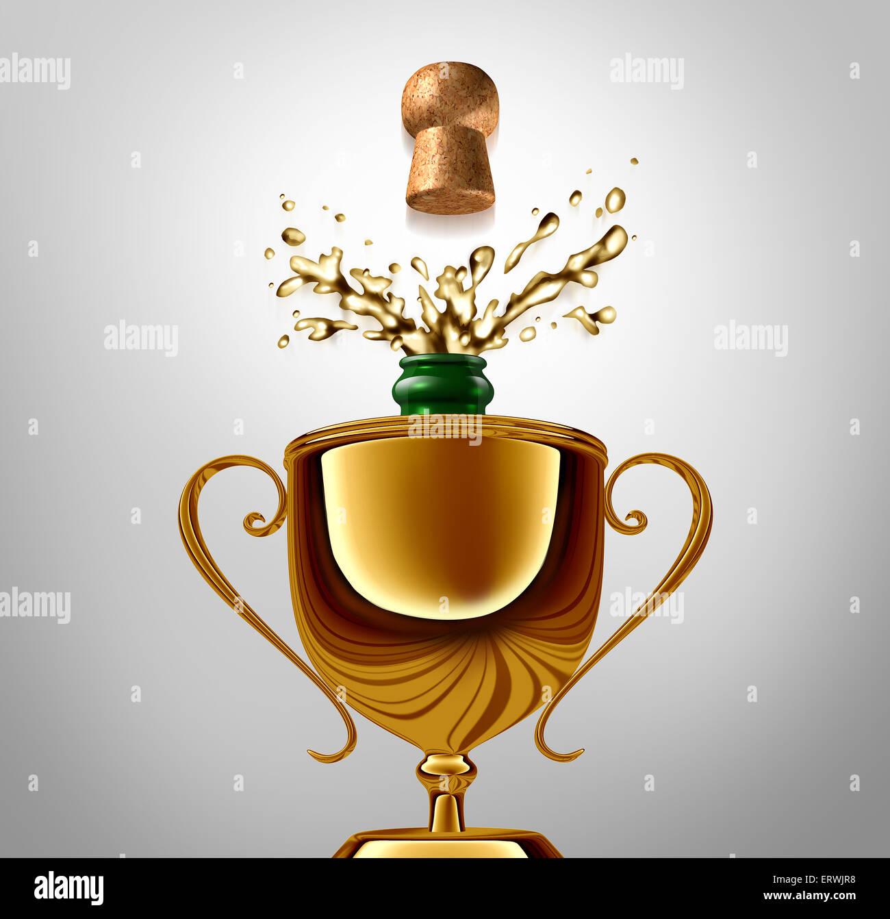 Vincitore celebrazione nozione come un Golden Trophy con un stappare la bottiglia di champagne all'interno come Immagini Stock