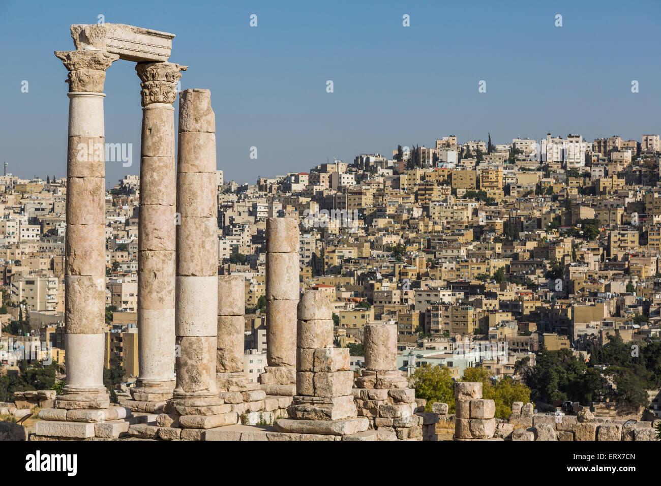 Tempio di Ercole sulla cittadella, Amman, Giordania Immagini Stock