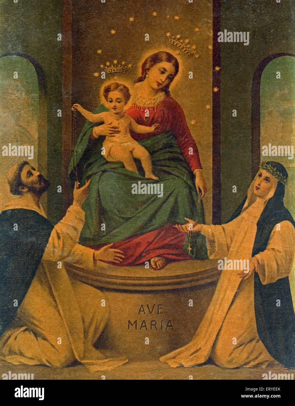 Cartolina ; il Cristianesimo religioso ; Maria Immagini Stock