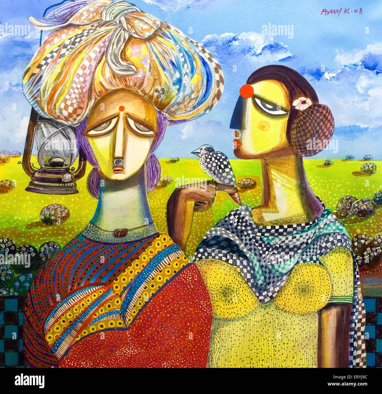 La pittura di donna acrilico su tela ; India Immagini Stock