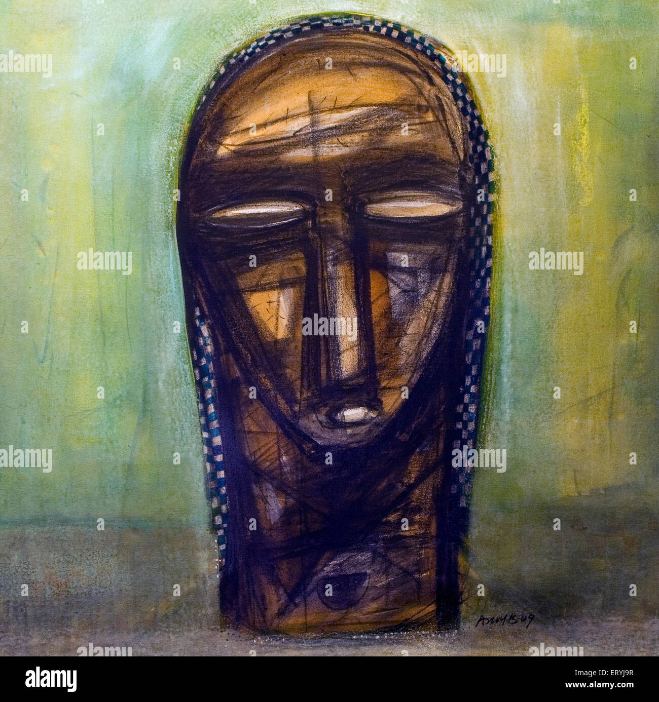 La pittura di testa acrilico su tela arte ; India Immagini Stock