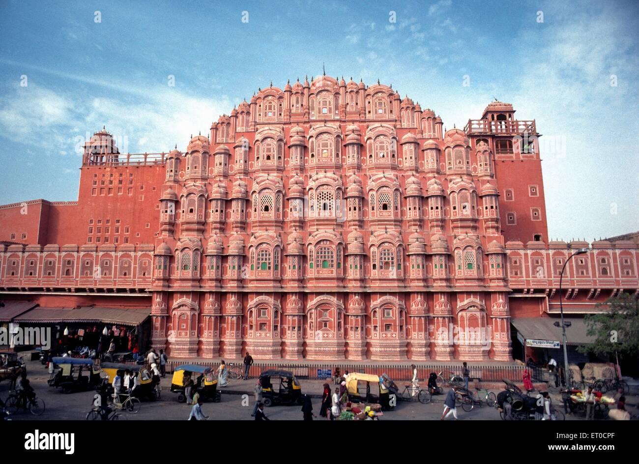 Hawa Mahal Palace di vento ; Jaipur ; Rajasthan ; India Immagini Stock