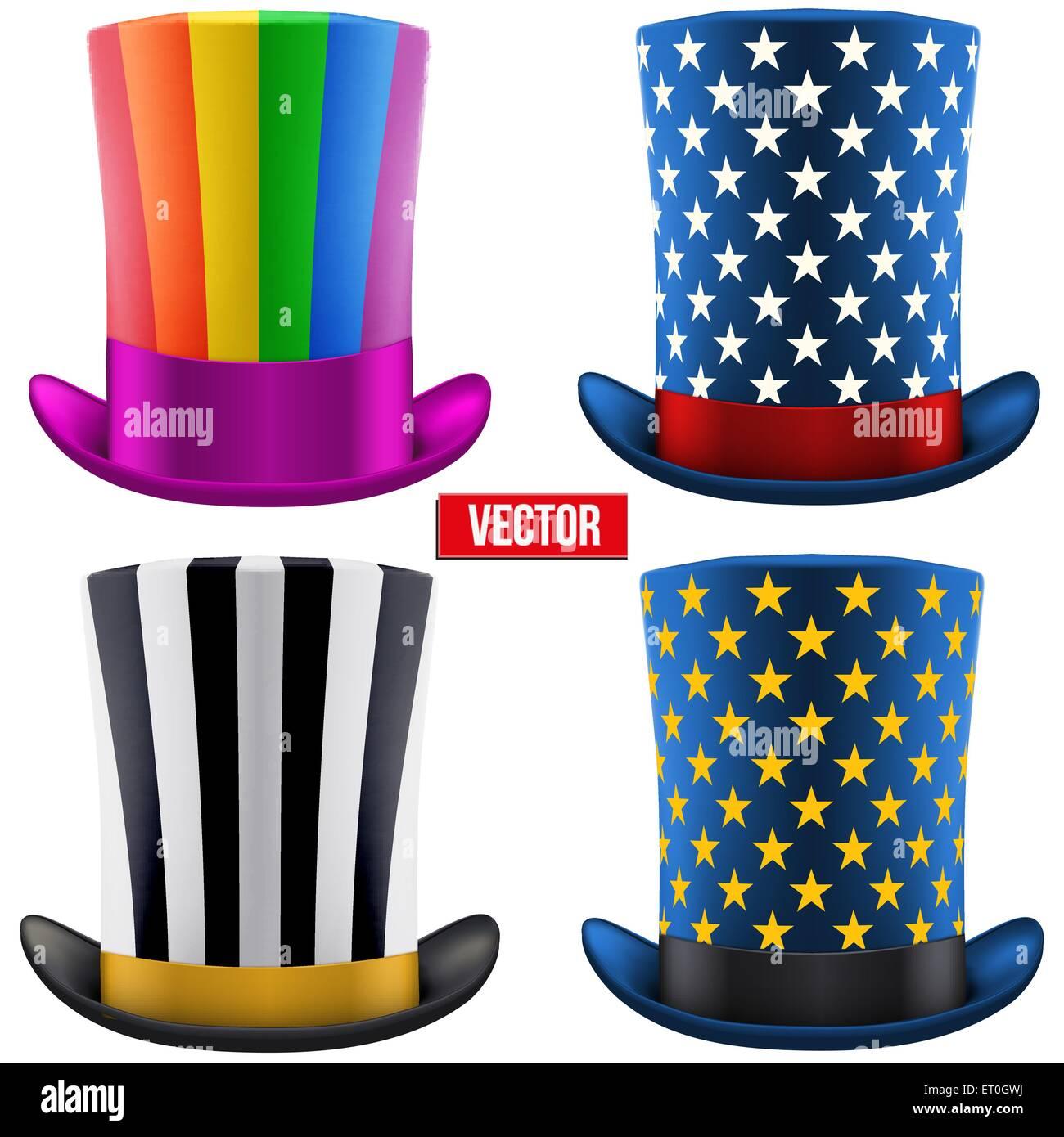 Set di cappelli magici cilindro. Illustrazione Vettoriale ... 2dfcdf262a6d