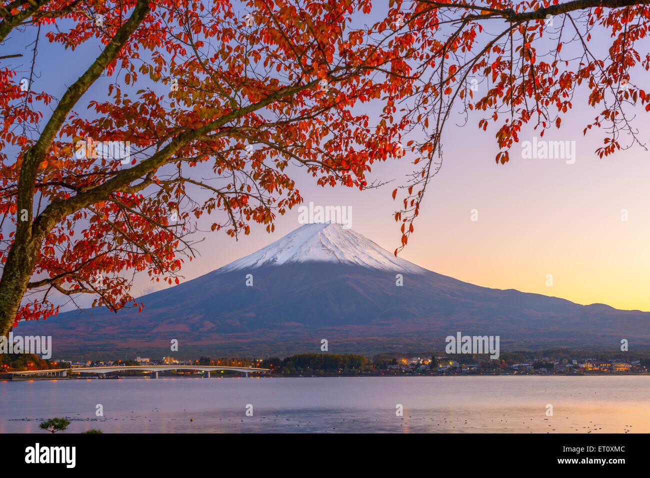 Mt. Fuji, Giappone al Lago Kawaguchi durante la stagione autunnale. Immagini Stock