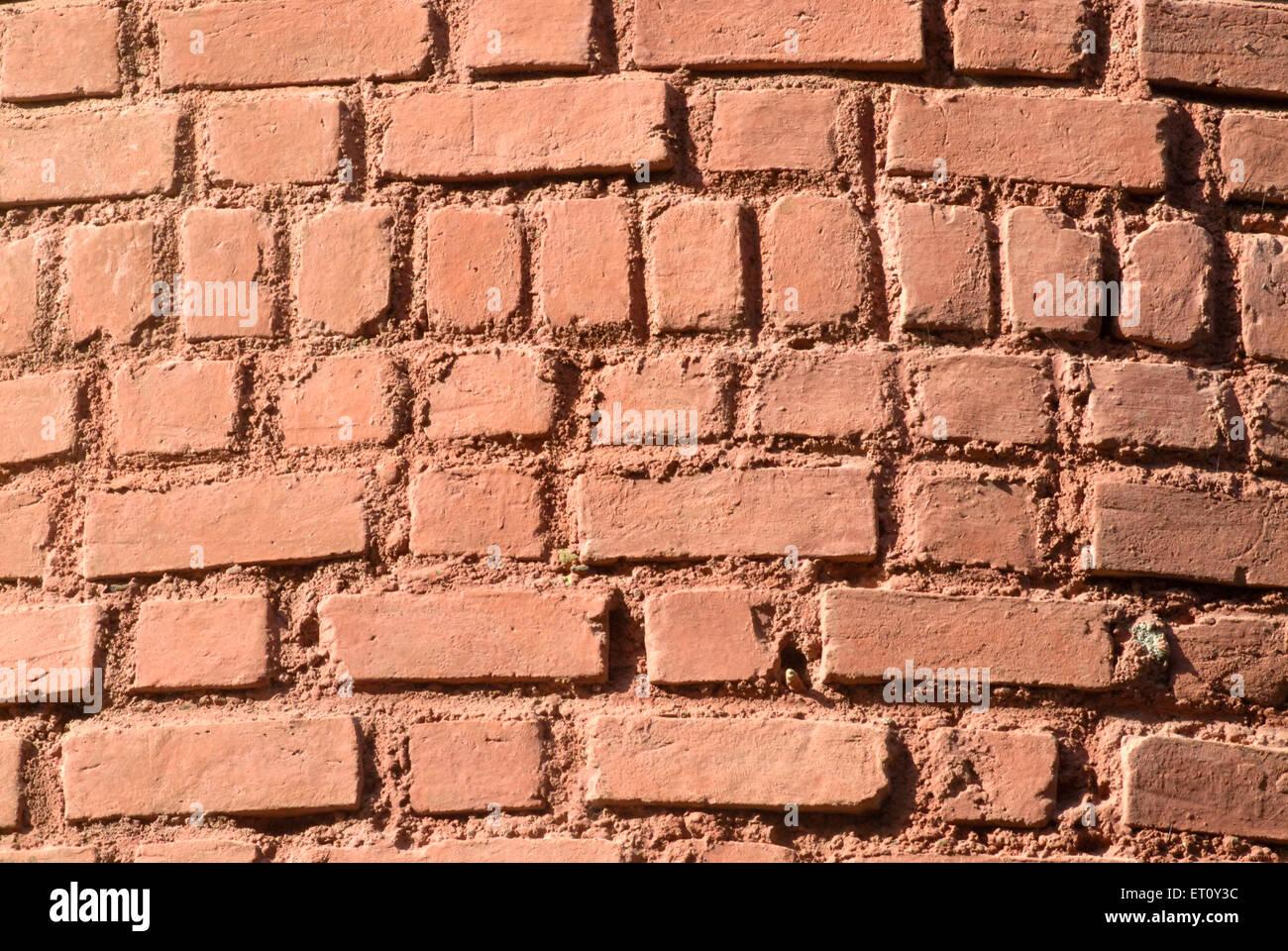 In mattoni della parete esterna ; Bassein Vasai District ; Thane ; Maharashtra ; India Immagini Stock