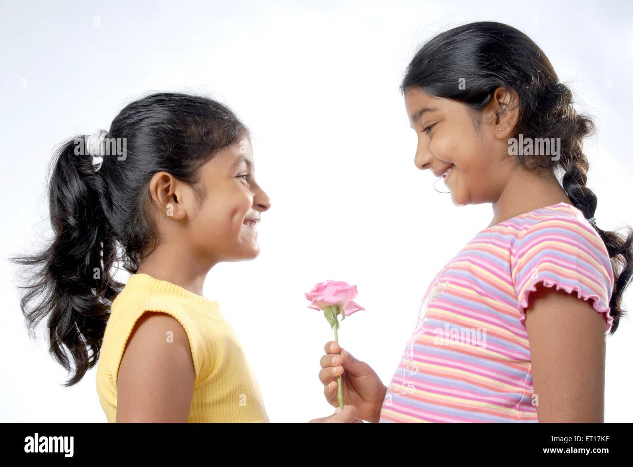 Ragazza indiana dando rosa rosa augurando buon compleanno - modello di rilascio # 682W Immagini Stock