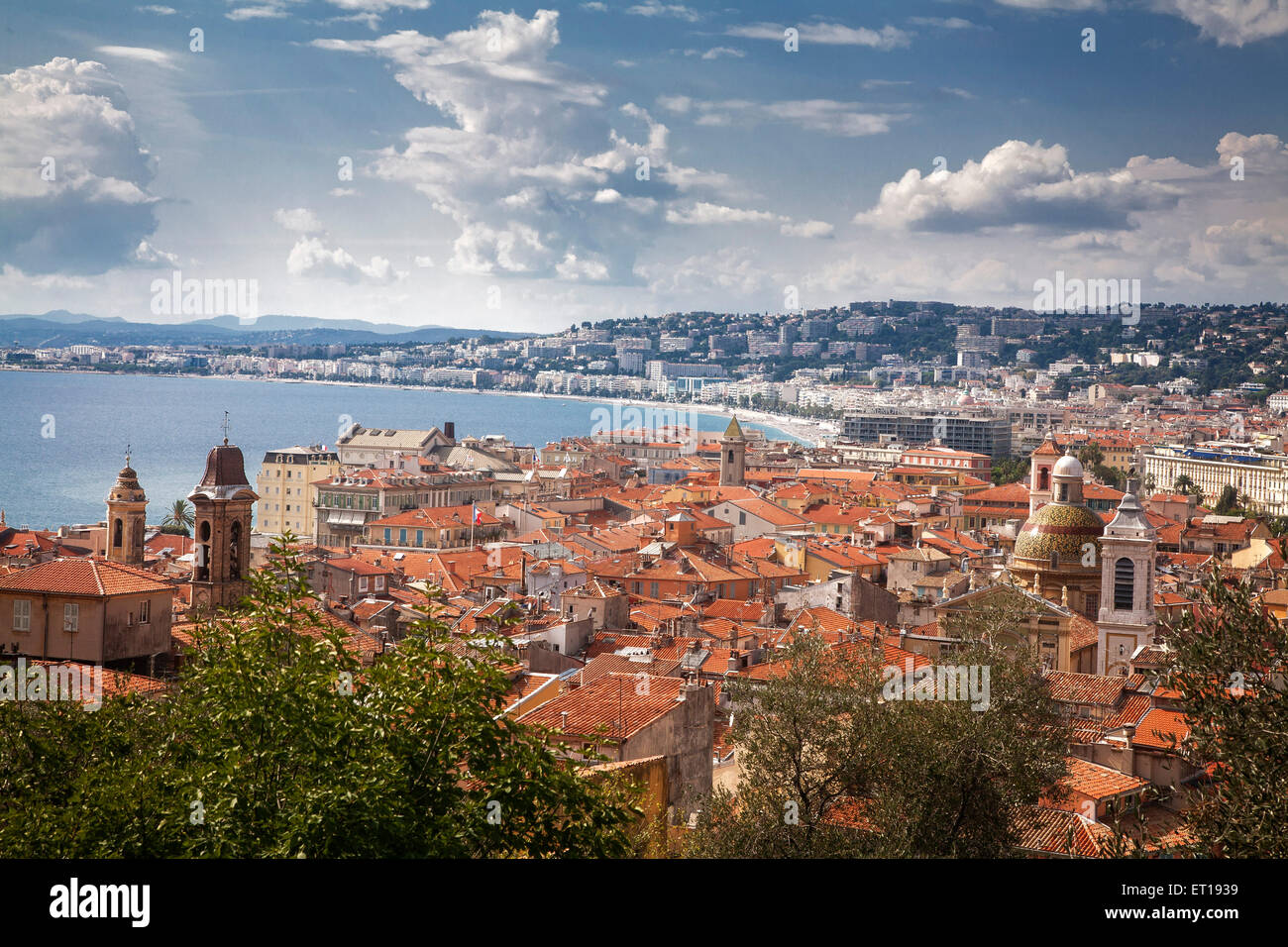 Lo skyline di Nizza, Francia. Immagini Stock