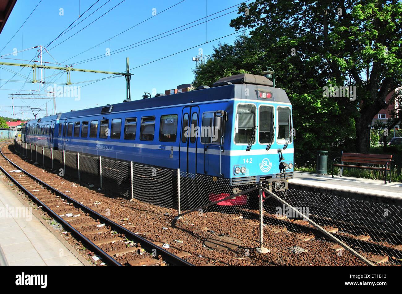 SL Suburban Metro treno di indicatore di Stoccolma Svezia Immagini Stock