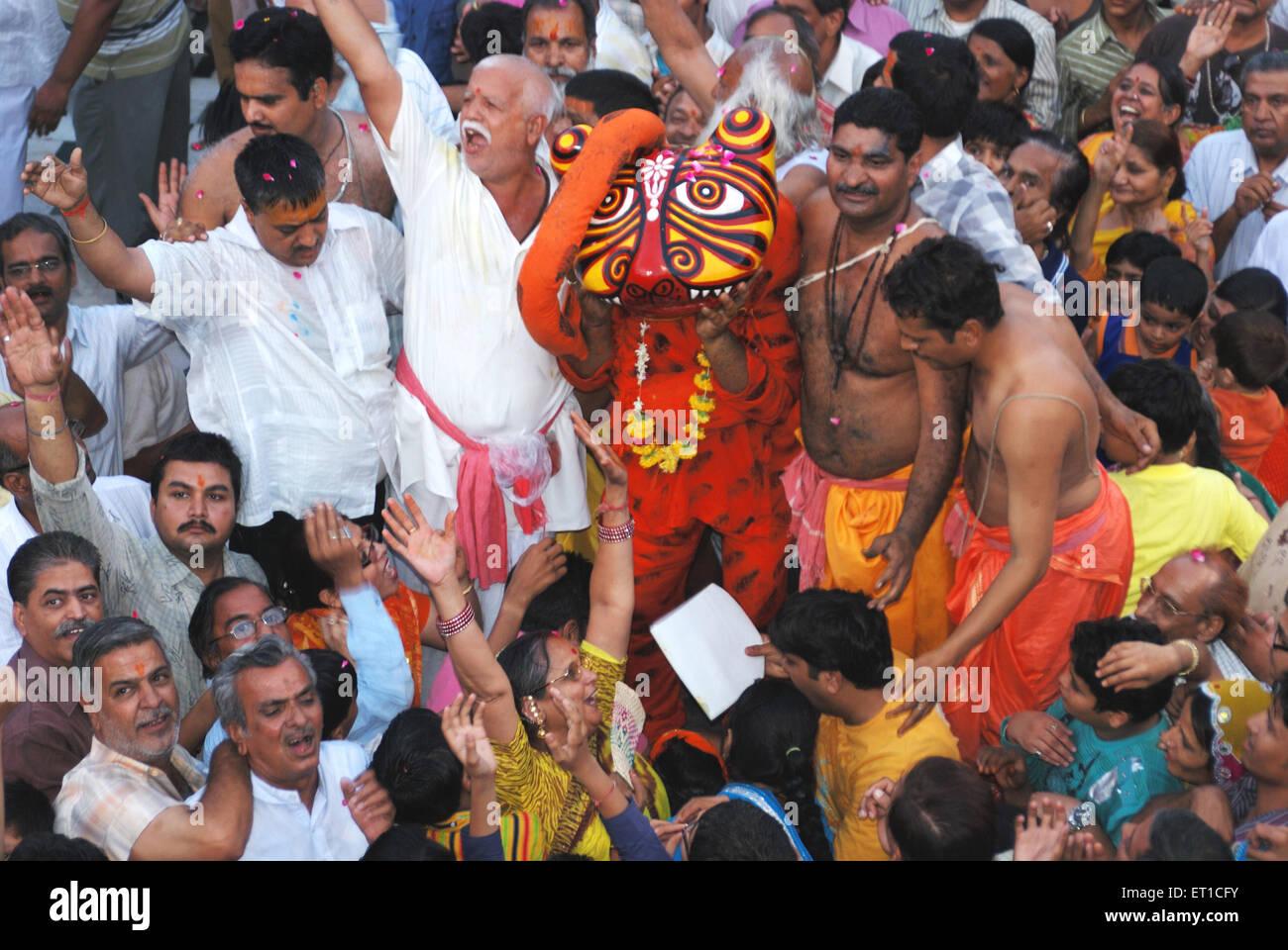 Narsingh avatar su Narsingh Jayanti in Jodhpur ; Rajasthan ; India Immagini Stock
