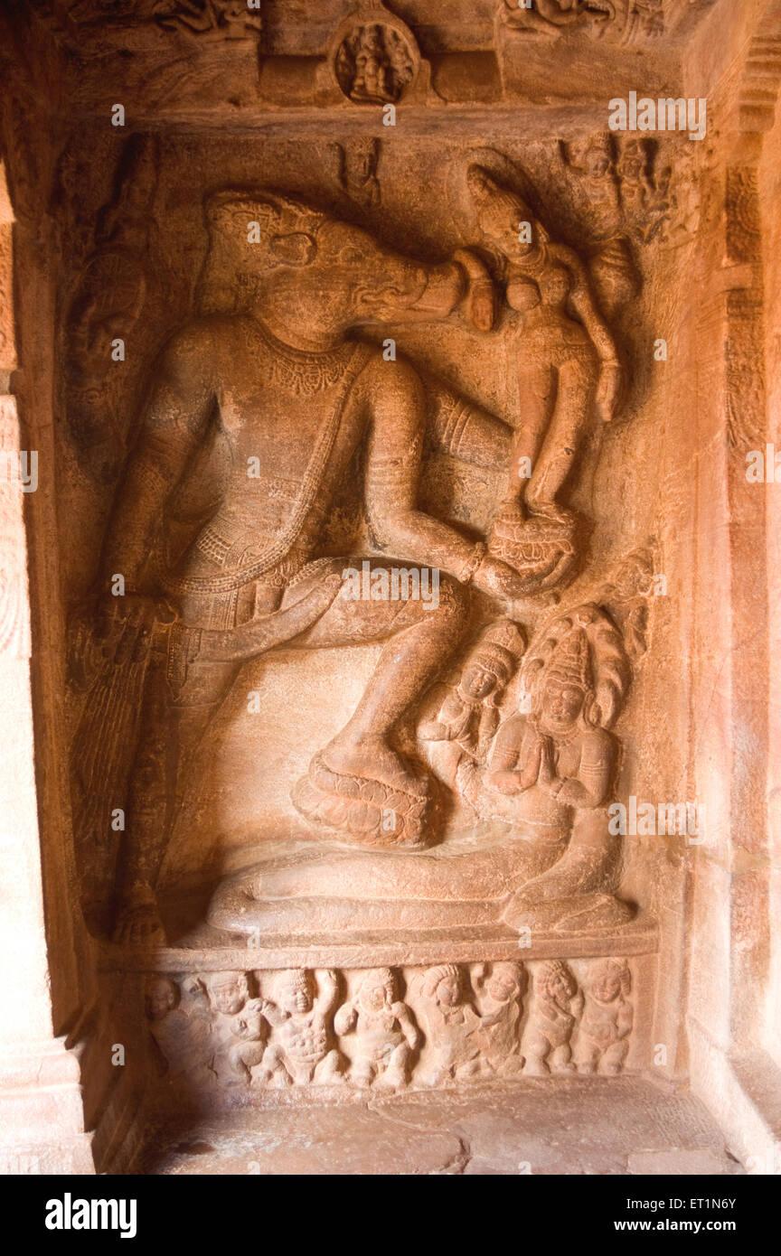 Varaha avatar ; Badami ; Bagalkot ; Karnataka ; India Immagini Stock