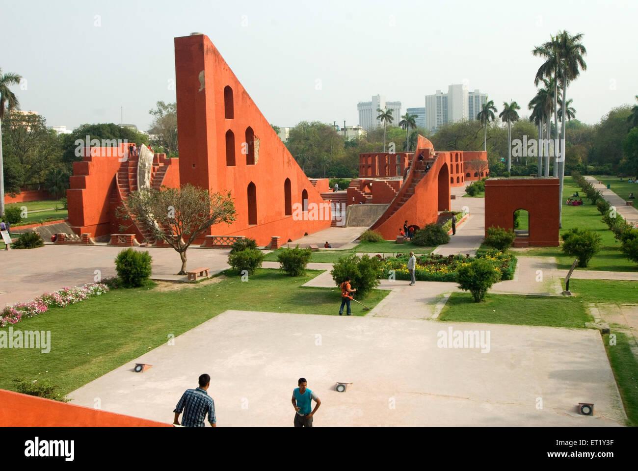 Jantar Mantar, architettonico astronomia strumenti, Delhi, India Immagini Stock