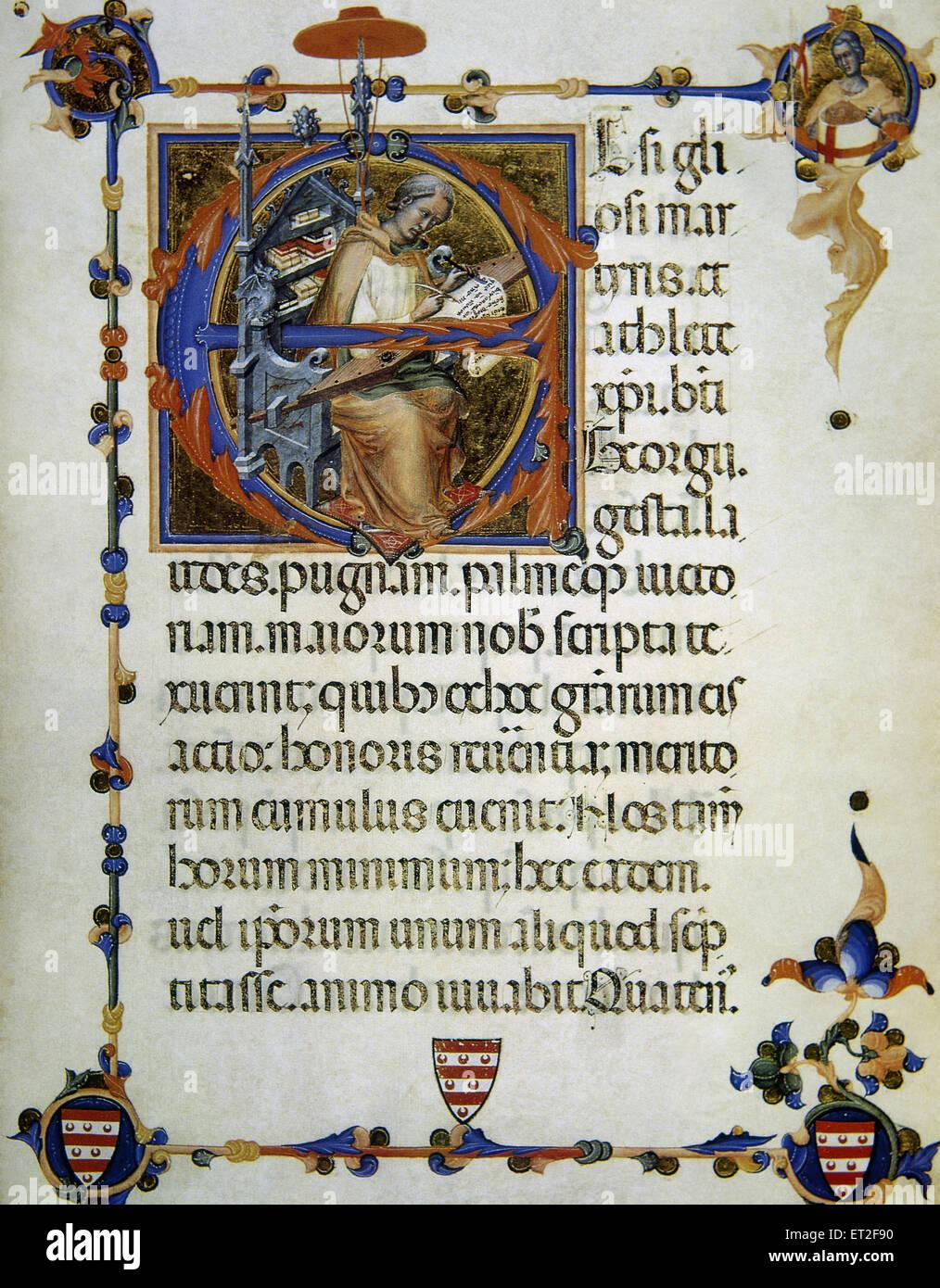 Leggenda e artigianato del Saint George. Rappresentato come copista medievale. Il XIV secolo. Biblioteca Apostolica Immagini Stock