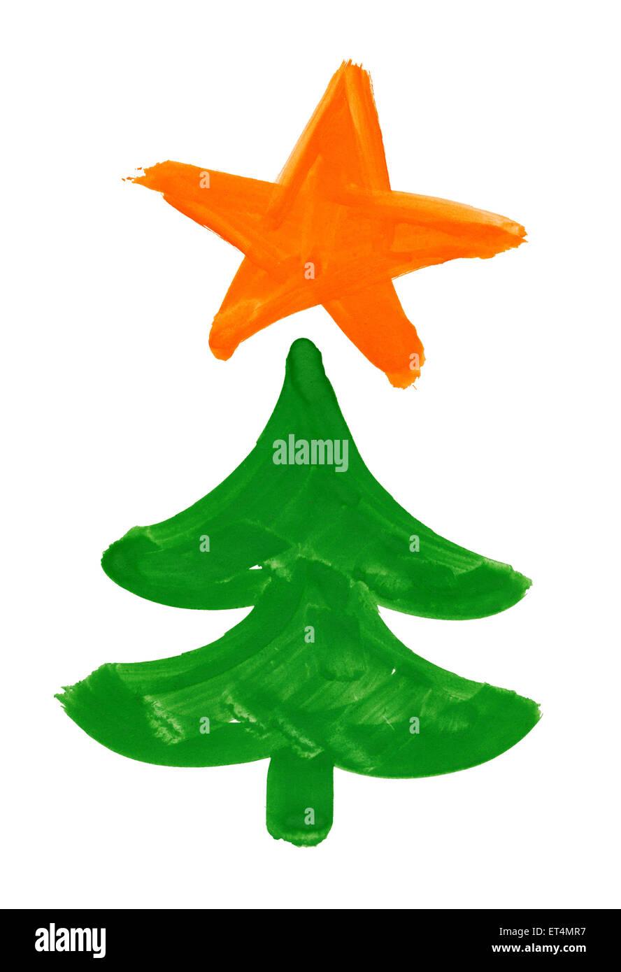 Natale Abete Con Star Disegno Ad Acquerello Foto Immagine Stock