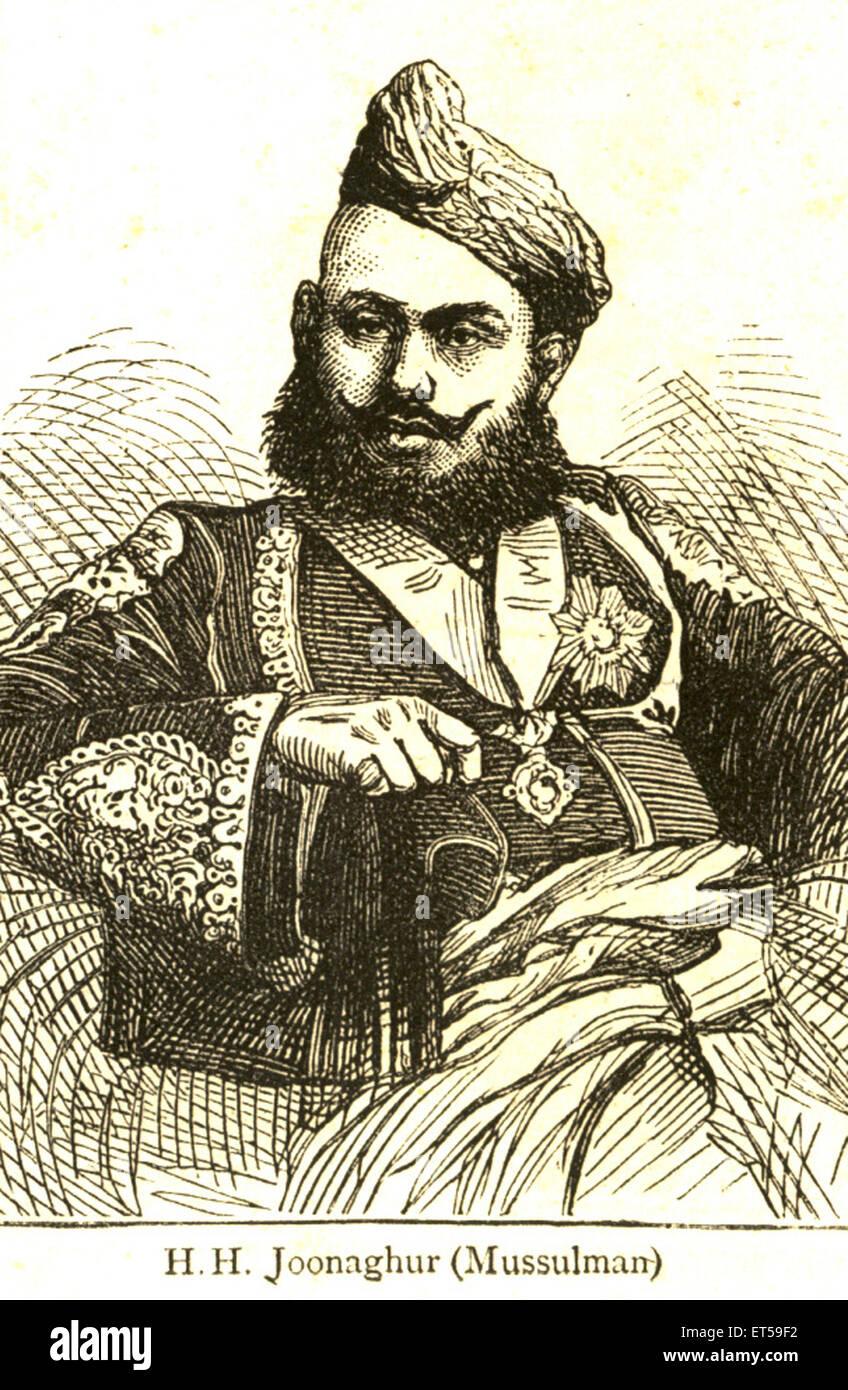 Ritratti litografici ; H. H. Joonaghur ; mussulman ; India n. MR Immagini Stock