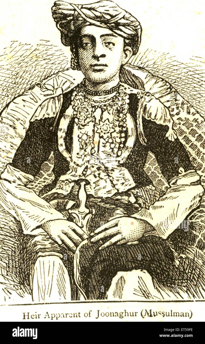 Ritratti litografici ; erede apparenti di Joonaghur ; mussulman ; India n. MR Immagini Stock