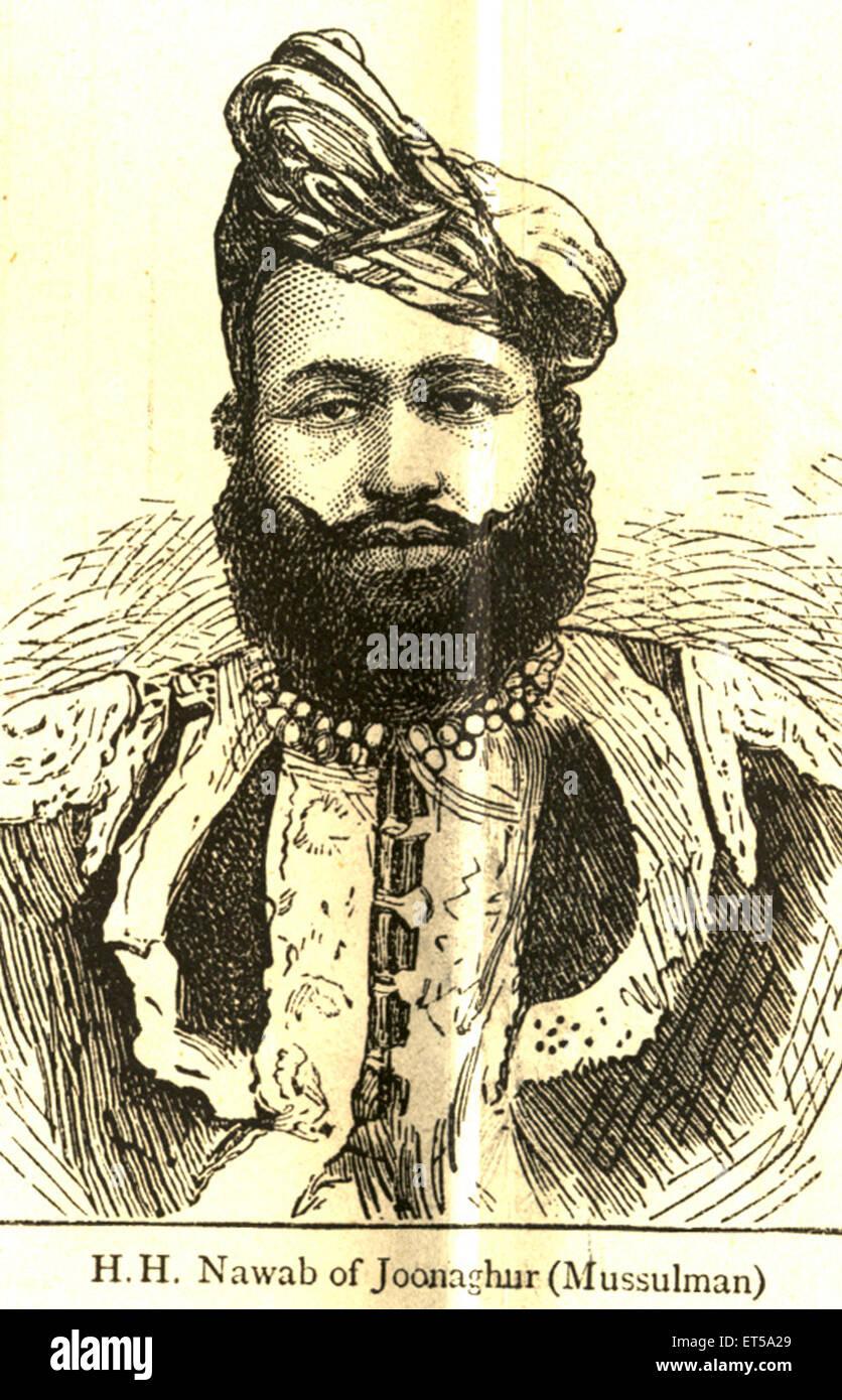 Ritratti litografici H.H. Nawab di Joonaghur Mussulman ; India n. MR Immagini Stock