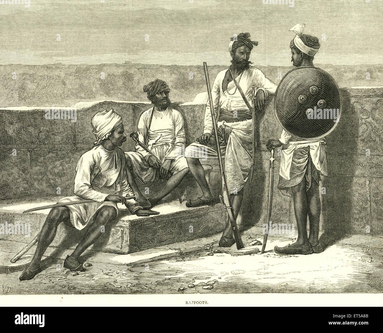 Ritratti litografici Rajpoots o Rajput IL News 12 febbraio 1876 ; India Immagini Stock