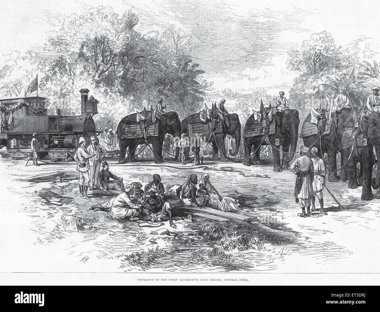 Viaggio e trasporto ingresso della prima locomotiva in Indore India centrale ; Madhya Pradesh ; India Immagini Stock